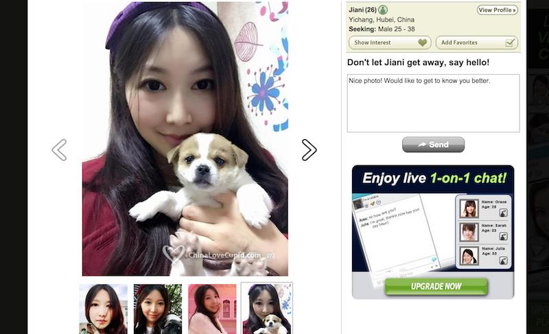 китайская девушка со щенком
