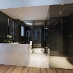 Туалет и душ в комнате хостела Cue Hotel