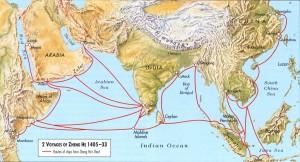 Карта путешествий Чжэн Хэ. Источник - meteoweb.eu