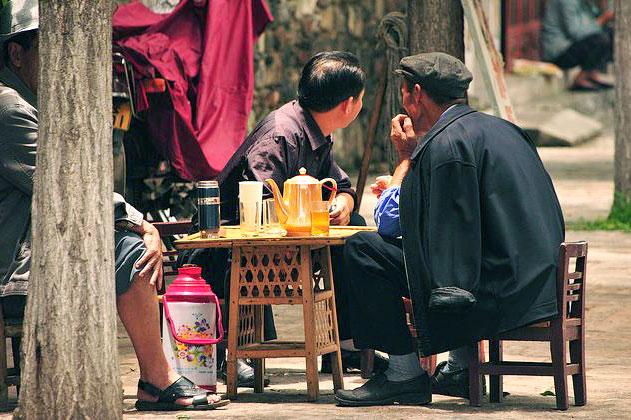 Чаепитие на улице в Китае