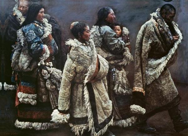 """Картина """"Ветер в горной деревне"""", Чэнь Ифэй. Источник - http://sadpanda.cn/"""
