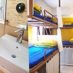 Часть ванной комнаты и спальни в хостеле Yesinn Causeway Bay