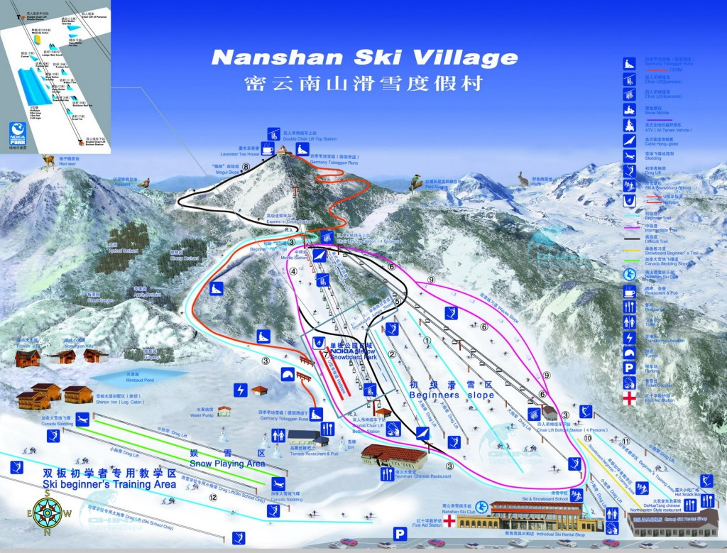 Схема горнолыжного курорта «Наньшань»