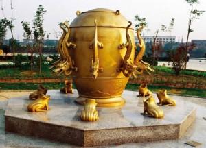 Китайский сейсмограф. Источник фото - baidu.com
