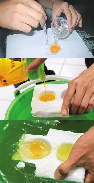 процесс изготовления фальшивого яйца