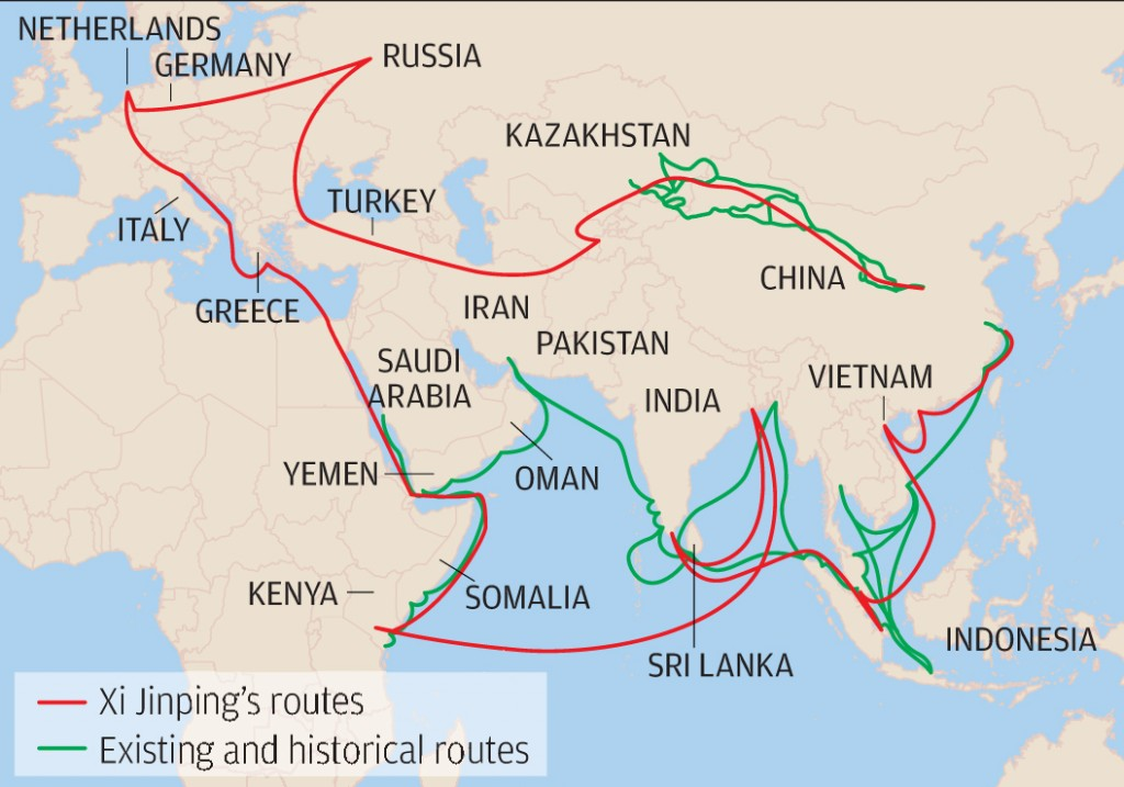 Прошлое и будущее. Зеленым выделены исторические и существующие морские и сухопутные пути, красным — планируемые