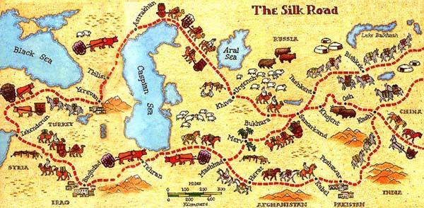 Карта исторического Великого шелкового пути