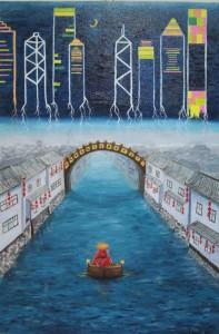 Работа Ольги Глёзы «С потоком» выставлена в галерее 789 TimesSpace. Источник: 798times.com