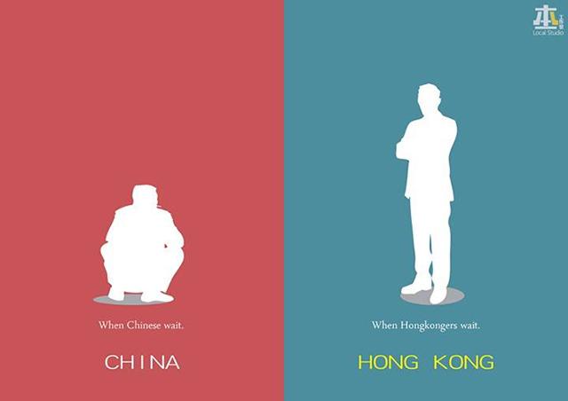 Как ждут китаец и житель Гонконга. Источник: shanghaiist.com
