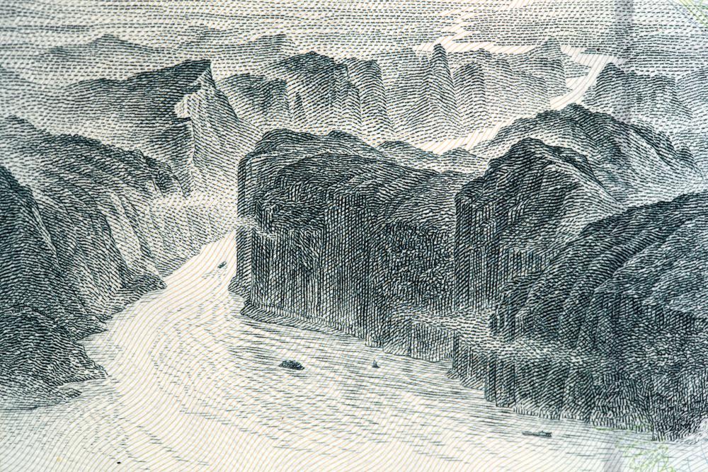 На банкноте в 10¥ изображены три ущелья реки Янцзы