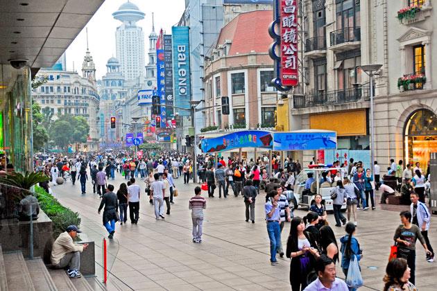 В Шанхае брендовые магазины «гнездятся» на центральной Нанкинской улице