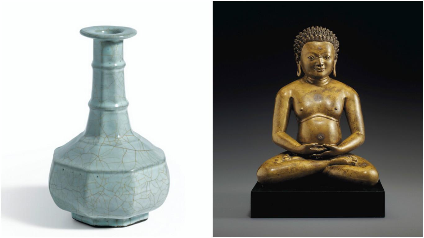 Слева - ваза гуань, справа - бронзовая статуэтка XI–XII века. Коллаж: sinocom.ru