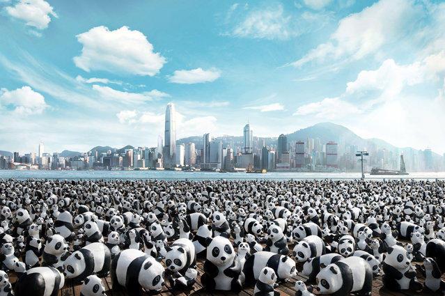 1600 панд из папье-маше наводнили Гонконг. Только не пугайтесь! Это всего лишь арт-проект. Фото daypic.ru