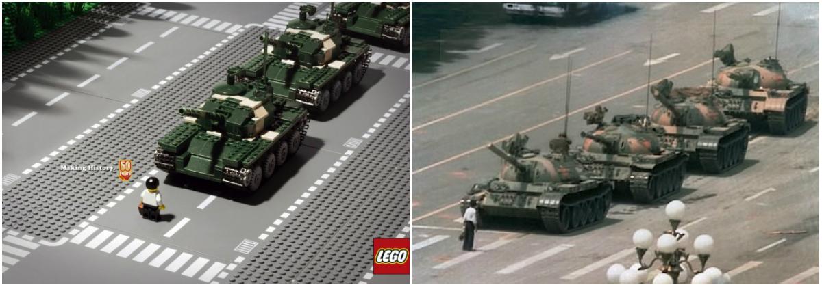 Плакат к 50-летию Lego воспроизводит фотографию Джеффа Уайднера с площади Тяньаньмэнь в июне 1989 года. Коллаж: sinocom.ru