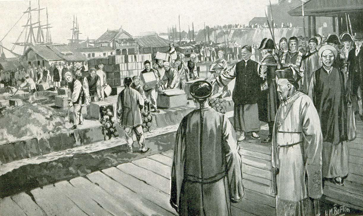 «Конфискация опиума в Гуанчжоу в 1839 году», европейский рисунок XIX века. Источник: imperiiia.com