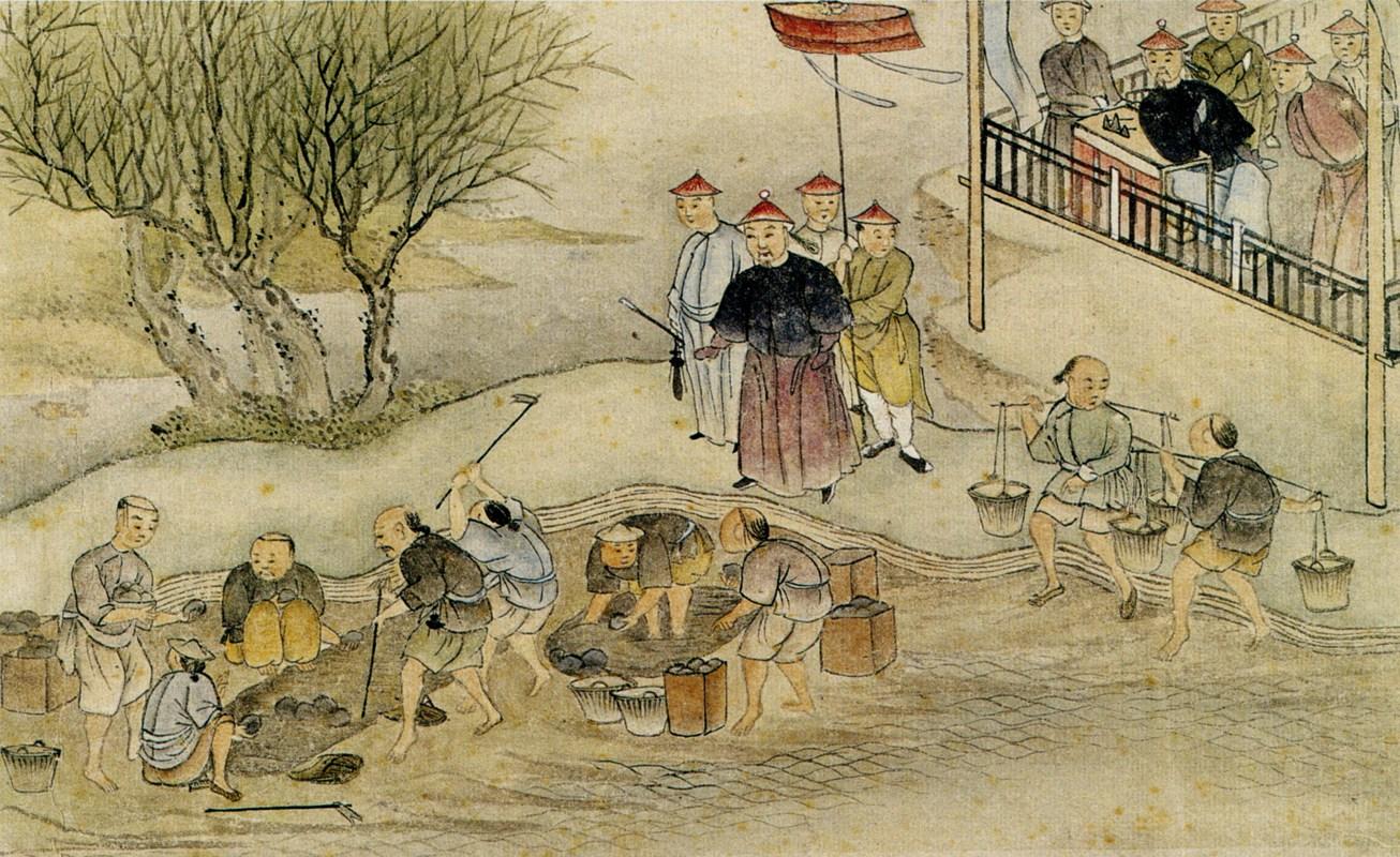 Линь Цзэсюй налюбает за уничтожением опиума. Рисунок 1839 года