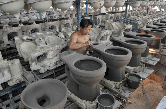 Chinese people produce toilets