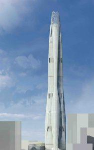 Высоченный небоскреб в Тяньцзине чем-то напоминает ракету. Фото: archdaily.com