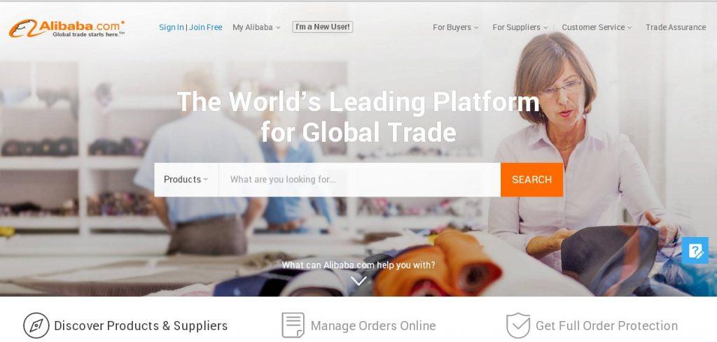 Англоязычная версия главной страницы Alibaba.com отличается от русскоязычной