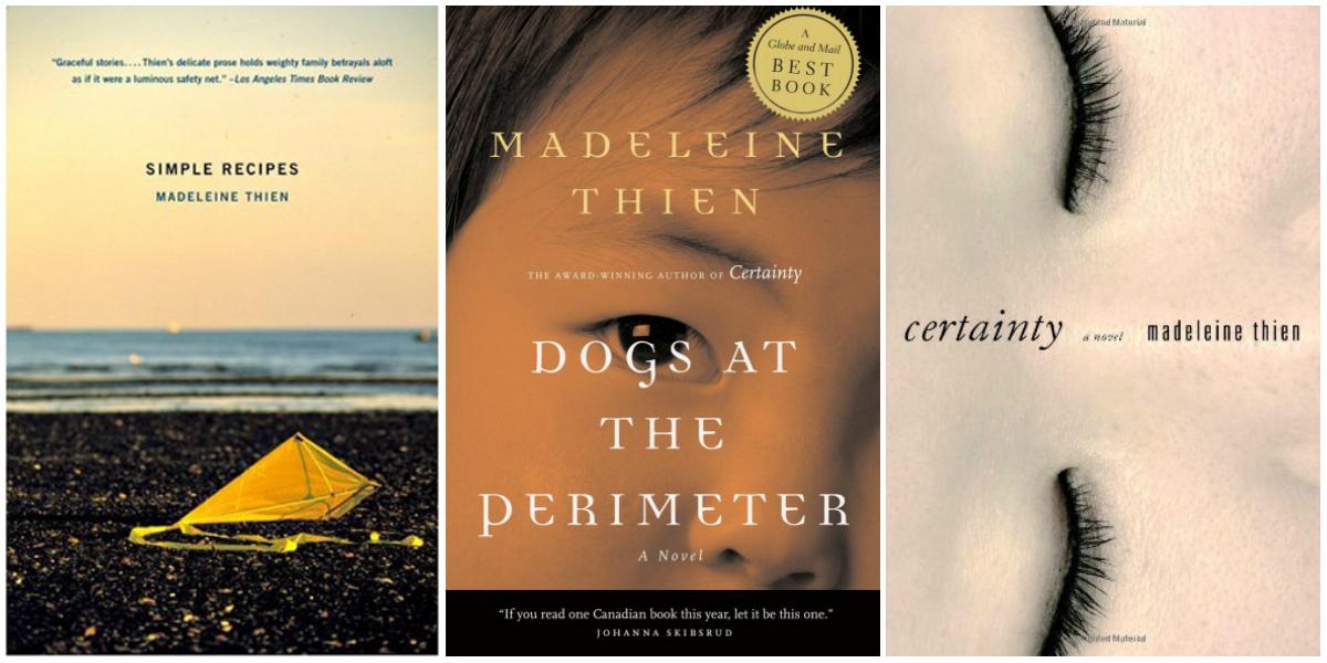 Обложки книг Мадлен Тьен: сборника рассказов «Простые рецепты», романов «Собаки по периметру» и «Определённость»