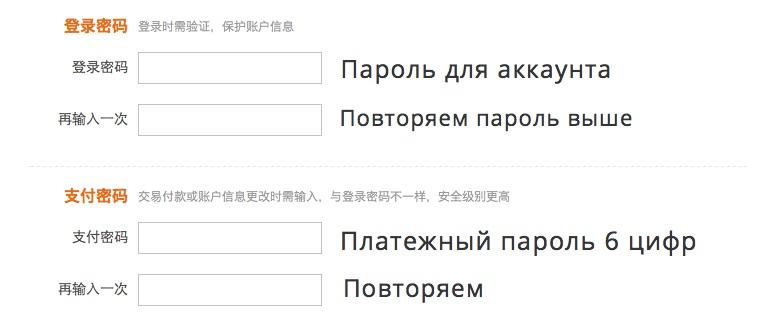 Страница регистрации Alipay 2