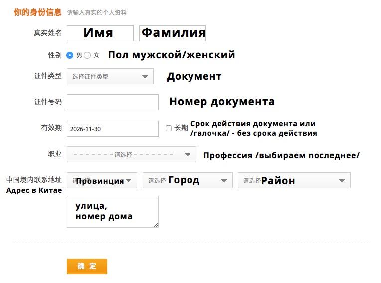 Страница регистрации Alipay 3