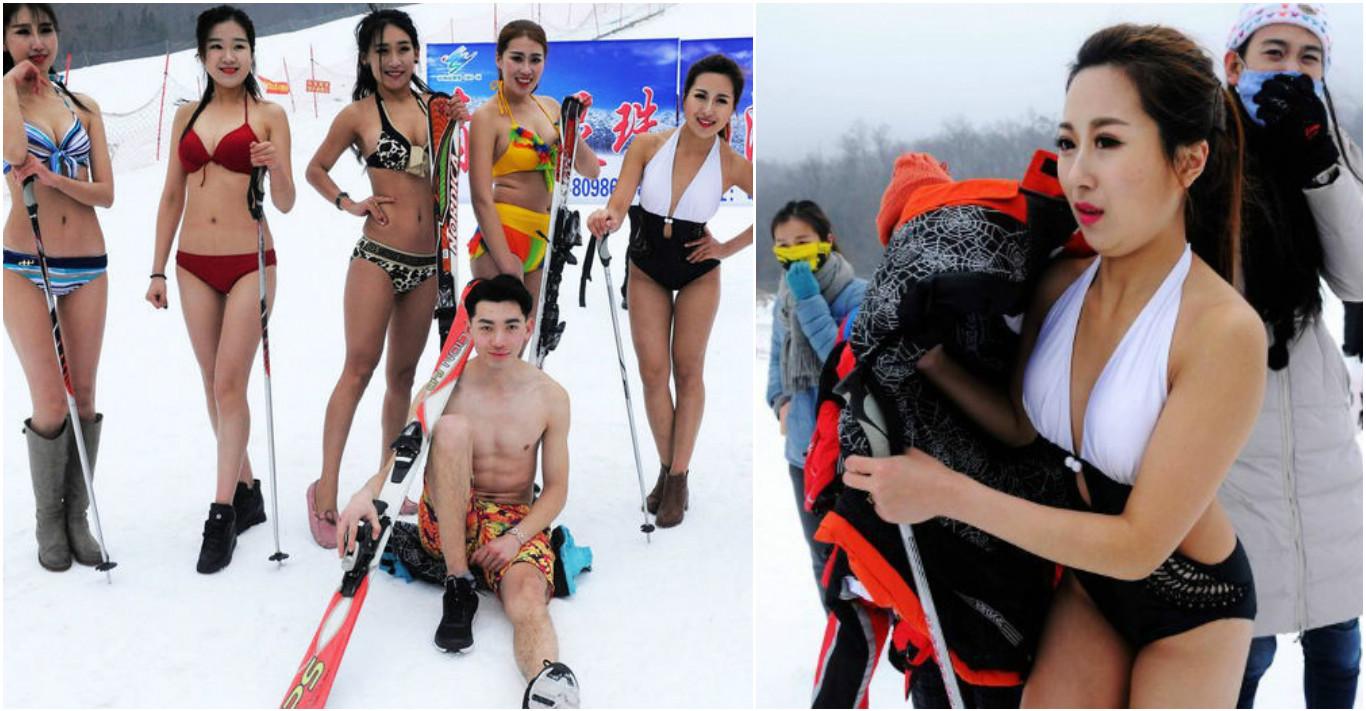 Съёмки рекламы горнолыжного курорта в Циндао. Фото via China News